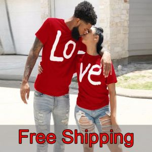 Couple T-shirt summer couple LOVE printed clothes couple Tshirt Christmas Casual Cotton Short Sleeve Tees Brand Loose Couple Top