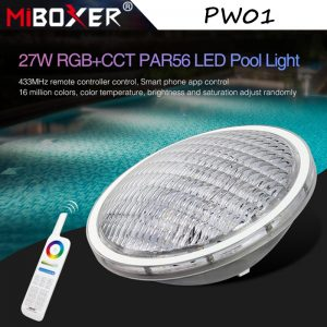 Miboxer PW01 27W RGB+CCT PAR56 Underwater LED Pool Light 8-Zone IP68 Waterproof Smart LED Light 433MHz Remote & APP Voice Contro