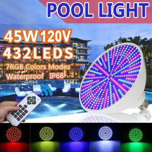 45W Swimming Pool Par56 Led Rgb Light Underwater Submersible Lamp Waterproof IP68 Pool Night Lights Remote Control Party Lamps