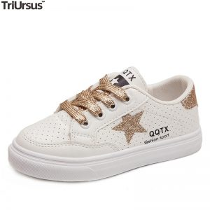 Children's Flats Fashion Sneakers Glitter Five-Pointed Star Toddler Boys Girls Casual Shoes Rubber Sole Lace Up Kids Sport Shoes