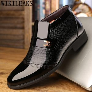 Ankle Boots Men Winter Shoes Formal Dress Patent Leather Boots Men Office Shoes Brand Business Shoes Mens Dress Boots Ayakkabi