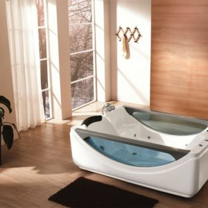 2 person glass Jacuzzi massage bathtub with shower and faucet M-2046