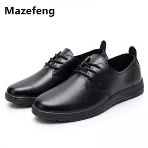 Mazefeng Male Leather Shoes Breathable Round Toe Men Dress Shoes Lace-up Waterproofing Solid Business Leather Shoes Black Flats