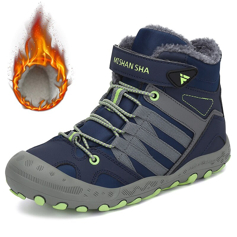 Winter Kids Boots Hiking Shoes Boys Warm Plush Boots Girls Outdoor Trekking  shoes Children Ankle Hiking Boots Anti Skid Sneakers - MTHINGZ