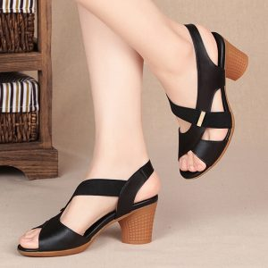 Fashion Women Sandals Platform Summer Round Mid Heel Peep Toe Casual Non-slip Back Strap Beach Ladies Shoes Zapatos De Mujer