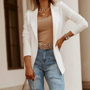 Women Autumn Solid White Black Business Female Blazer Jacket Casual Fall Long Sleeve Work Suit Office Lady Slim Blazers Coat Top