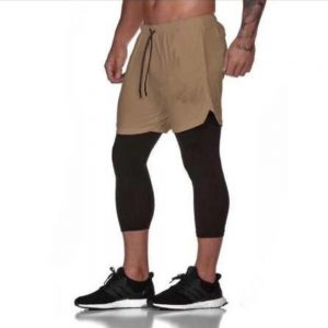 2 in 1 Fitness Gym Shorts for Men Double-deck 3/4 Leggings Pants Casual Running Camo Tight High Elastic Quick Dry Jogging Short