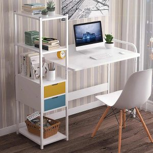 Large Wood Computer Desk Laptop Desk Writing Table Study Desk with Drawers Shelves Office Furniture PC Laptop Workstation Home