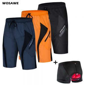 WOSAWE Men Breathable MTB Cycling Shorts With 5D Gel Padded Cycling Underwear Mountain Bike Loose Outdoor Downhill Shorts M-3XL