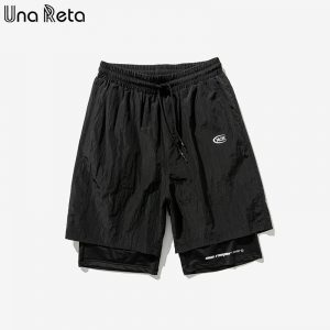 Una Reta Shorts Men Summer New Fashion Streetwear Elastic Waist Knee Length Sweatpants Hip Hop Patchwork Print Men's Shorts