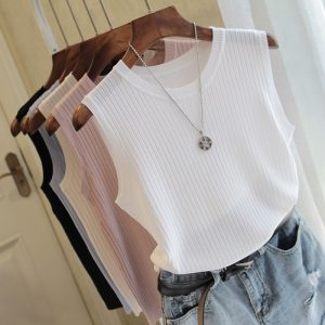 Fashion Woman Blouse 2020 Summer Sleeveless Blouse Women O-neck Knitted Blouse Shirt Women Clothes Womens Tops And Blouses C853
