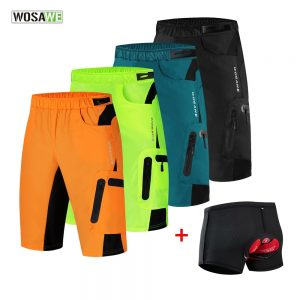 WOSAWE Men's Cycling Baggy Shorts With 3D Gel Pad MTB Mountain Bike Short Pants Gel Padded Sport Cycling Underwear M-3XL