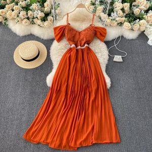 SINGREINY French Pleated Strap Dress Women Sexy V Neck Backless A-line Party Dress Summer Elegant Off Shoulder Beach Maxi Dress