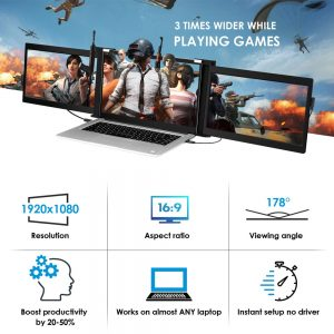 """Eyoyo 13.3"""" Portable Monitor FHD IPS 1920x1080 Type USB-C HDMI Gaming Display Second Screen for Phone Laptop PC PS4 Xbox Switch"""