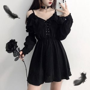 Women dress demon girl original black spring and autumn 2021 sexy high waist femme dress shoulder long sleeve gothic dress A085