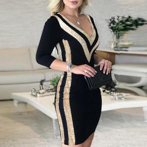 Elegant Dresses for Women Sexy Deep V-Neck Sequins Dresses Wrap Patchwork Office Lady Mini Dress Autumn Female Clothing