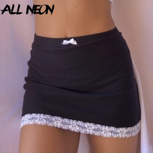 ALLNeon E-girl Sweet Bow Lace Trim Black Skirts Y2K Aesthetics Solid High Waist Bodycon Short Skirt Clubwear 90s Vintage Bottoms