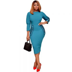 Women Elegant Long Sleeve African Church Work Office Lady Business Knee Length Bodycon Formal Fitted Dress with Zipper Pockets