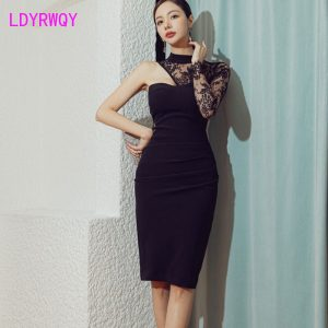 Women's 2021 spring new sexy temperament single shoulder lace splicing nightclub hip dress