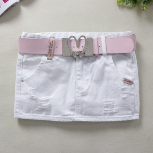 2020 Summer White Jeans Skirts Womens H-Style Sexy Elastic Skinny Pencil Skirts 100% Cotton Above Knee Denim Mini Skirts 2985