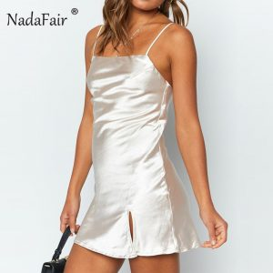 Nadafair Spaghetti Strap Slip Satin Mini Dress 2019 Split Summer Club Party Sexy Dresses Women White Blue Green