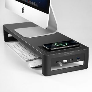 VAYDEER Monitor Stand Riser with USB3.0 Hub Support Data Transfer and Charging Steel Desk Organizer for Laptop Computer