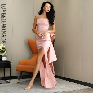 LOVE&LEMONADE Sexy Bright Pink Tube Top Bodycon Whit Split Big Bow Decoration Elastic Material Maxi Dress LM82461