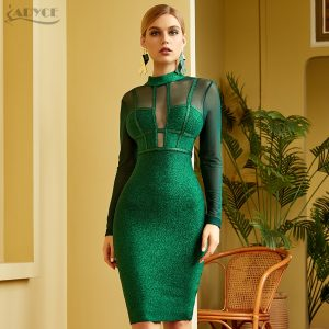 Adyce 2020 New Winter Women Green Long Sleeve Bandage Dress Sexy Lace Hollow Out Midi Club Celebrity Evening Runway Party Dress