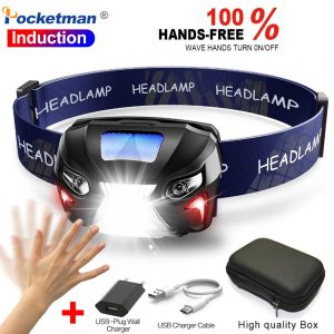 Powerful 8000 Lumen Body Motion Sensor Headlamp LED Headlight USB Rechargeable Head Flashlight Camping Fishing Hiking Head Light
