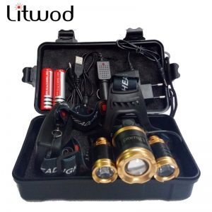 Litwod Z25 Headlight 3/5 LED T6 Headlamp Head Lamp Fishing Hunting Lighting Bicycle Light Flashlight Torch Lantern LED Bulbs