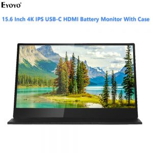 """Eyoyo 15.6"""" 4K IPS HDR potable Lcd gaming Battery Monitor USB C HDMI 3840x2160 Screen PC Laptop Display for Phone PS4 switch"""