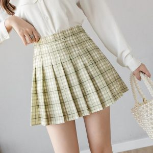 2020 Summer Yellow Plaid Skirt Short Women Mini Korean Skirt School Womens Korean Sweets Short A Line High Waist Female