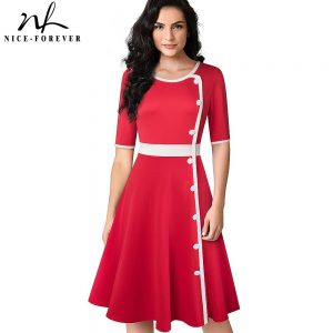 Nice-forever Retro Elegant Contrast Color Patchwork with Button Dresses Business Party Autumn Women Flare Dress A228