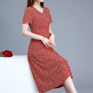 2020 summer Women Dress For Female Short sleeve Plus size Dress A-line Midi Dress Loose Floral Vestidos Vintage