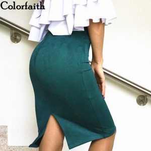 Multi colors 2021 Women Skirt Spring Solid Suede Work Wear Package Hip Pencil Midi Skirt Autumn Winter Bodycon Femininas SP012