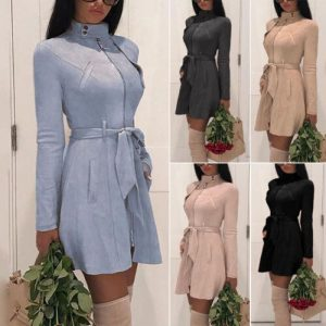 Women Warm Winter Turtleneck Solid Bandage Zipper Long Sleeve Mini A-line Dresses Female Chic Outwear Dress Hot Clothing