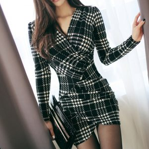 Sexy Vintage Plaid Dresses Spring Women Long Sleeve Bodycon Office Business Work Dress Club Party Pencil Dress