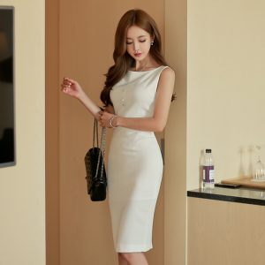 Brief Style Women Vintage White Sleeveless Bodycon Office Lady Work Dress Slim Pencil Dress Formal Party Summer