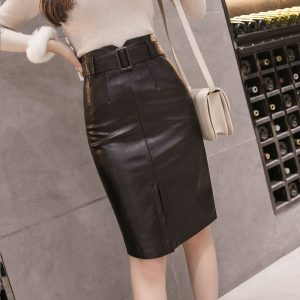 TingYiLi Front Split Pu Leather Skirts Womens Autumn Winter High Waist Midi Skirt Black Pencil Skirt Korean Elegant